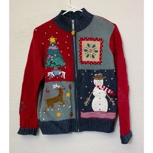 Vintage patchwork Christmas ugly snowman sweater